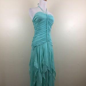 BCBGMAXAZRIA Silk Blend Ruffle Halter Neck Dress